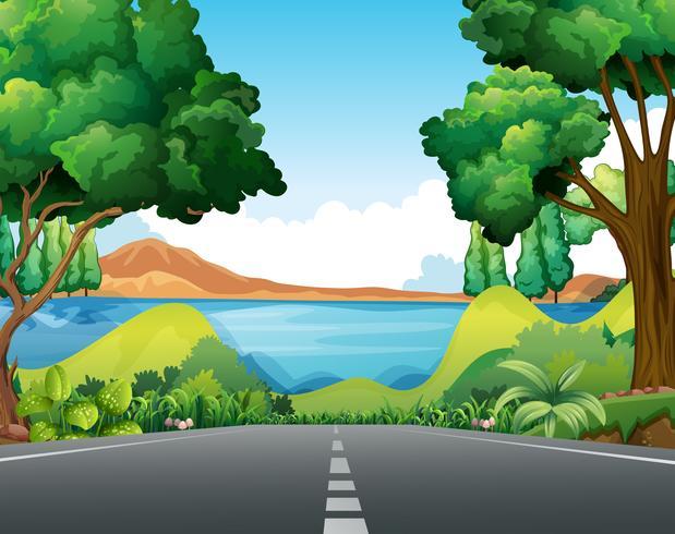 Cena, com, estrada, para, a, lago vetor