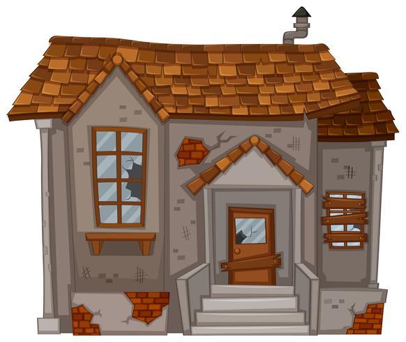 Casa antiga com paredes arruinadas vetor