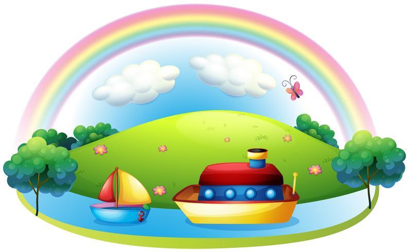 Navios perto de uma ilha com um arco-íris vetor
