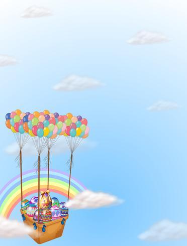 Ovos de Páscoa coloridos transportados por um grupo de balões vetor