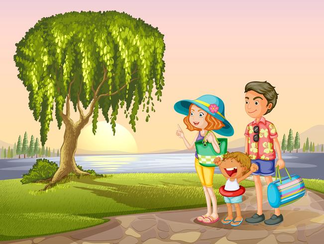 homem, mulher e criança em pé ao redor da árvore vetor