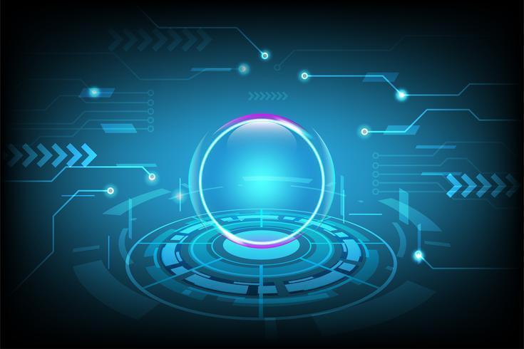 Fundo abstrato da tecnologia com o conceito futurista da Olá! -Tecnologia, fundo da inovação da tecnologia do Cyber. ilustração vetorial vetor