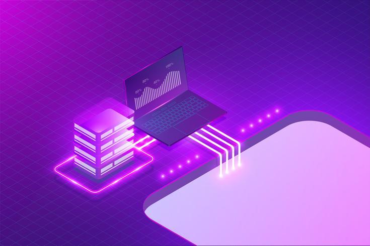 Sistema de análise de negócios, ilustração em vetor conceito de computação.