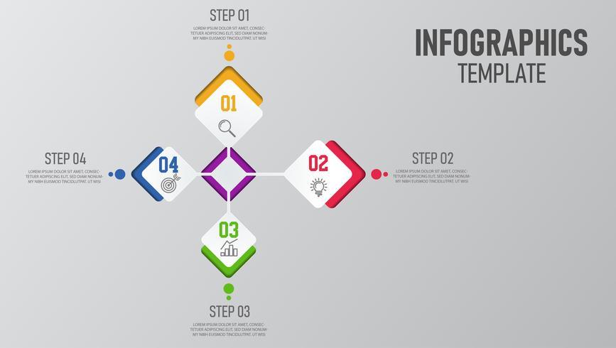 Elementos de infografia com 4 opções vetor