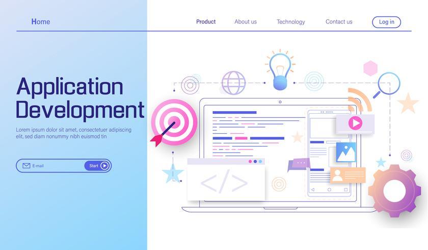 Desenvolvimento de aplicativos e conceito de design plano moderno de desenvolvimento web, página de destino do aplicativo móvel de codificação e programação de vetores de dispositivos de plataforma cruzada.