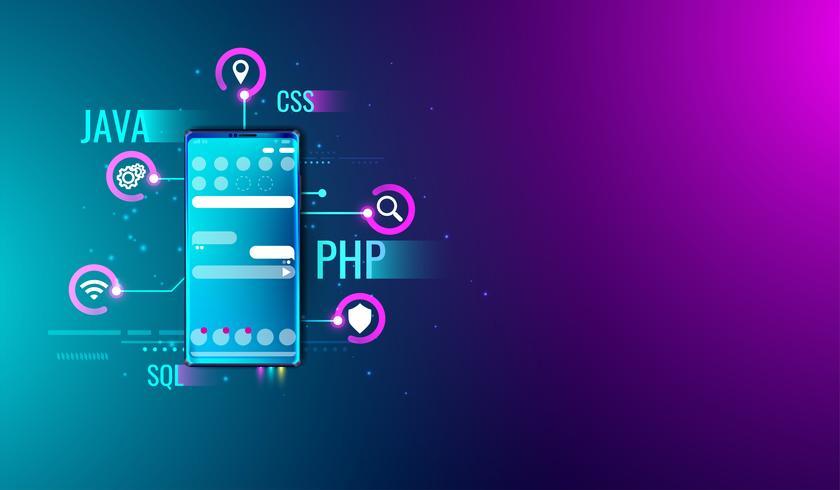 Conceito móvel do projeto e do desenvolvimento de UI UX da aplicação na tela do smartphone e na linguagem de programação vetor. vetor