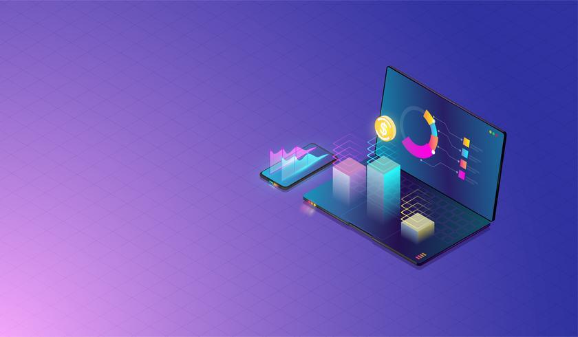 Análise de dados, pesquisa, planejamento, estatística, financeiro, infográfico e gestão no laptop e conceito móvel. Vetor