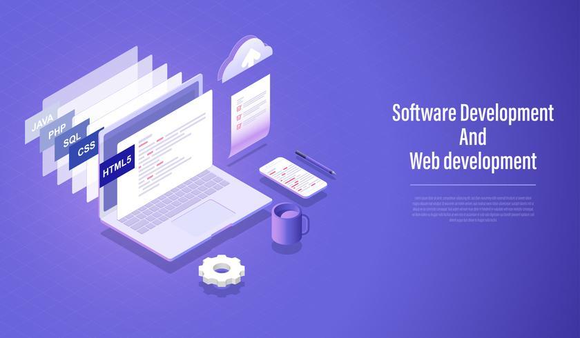 Desenvolvimento de software e conceito isométrico do desenvolvimento da Web, linguagem de programação que codifica o vetor. vetor