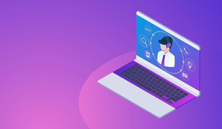 Cliente ou linha de serviço conceito com laptop, call center 24h. vetor