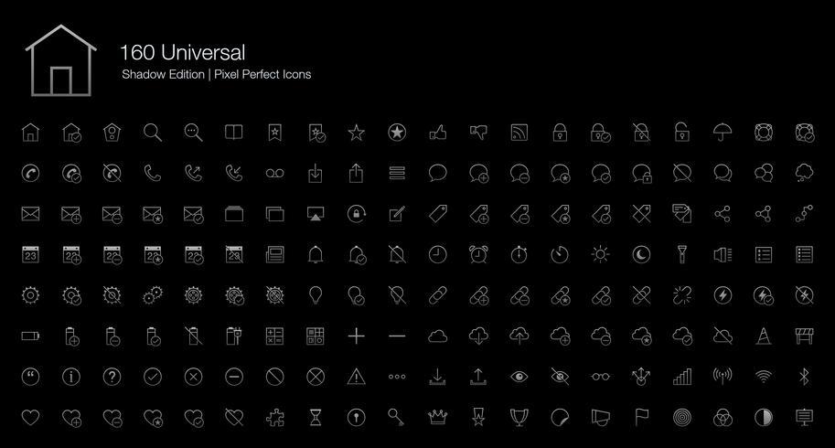 Universal Pixel Perfect Icons (estilo de linha) Shadow Edition. vetor