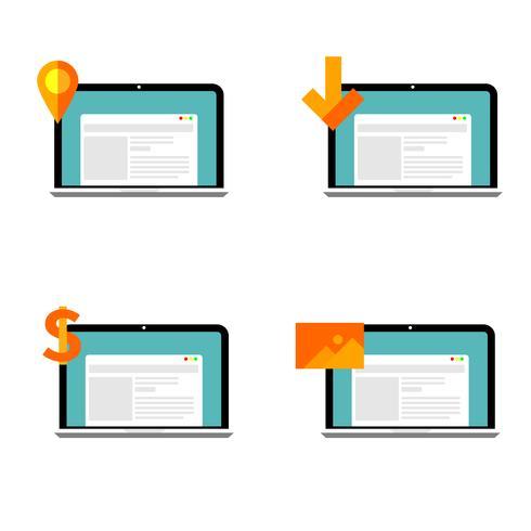 Conjunto de ícones da Web design plano pronto para usar. ilustração do vetor