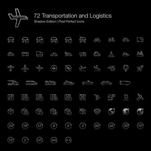 Transporte e Logística Pixel Perfect Icons (estilo de linha) Shadow Edition. vetor
