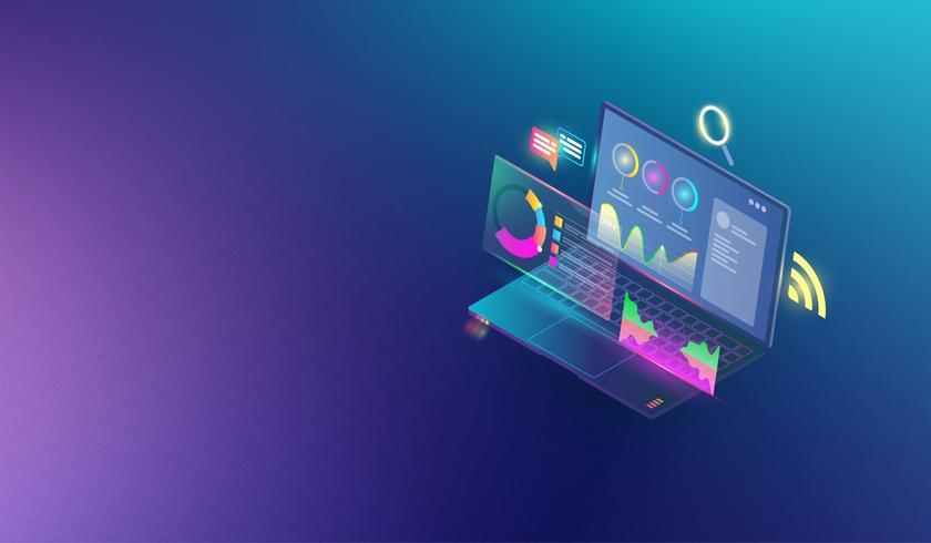 Elementos infographic e analíticos financeiros do negócio no conceito do portátil da tela. Grupo isométrico de infographics com gráficos financeiros dos dados ou diagramas e vetor da estatística de dados da informação.