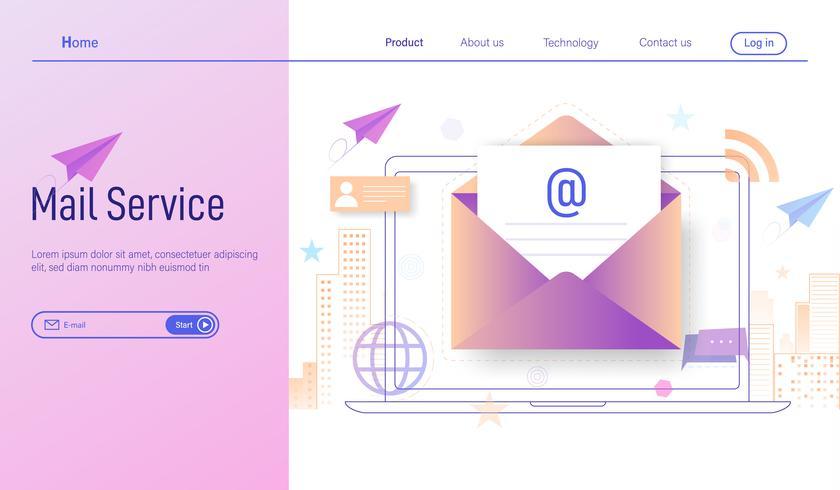 Correio eletrônico ou conceito de design moderno plano de serviços de e-mail, assinar on-line e recebeu a newsletter através do vetor de smartphone e laptop