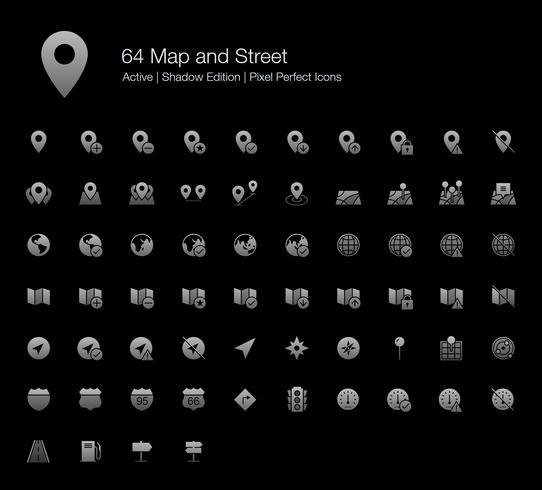 64 ícones perfeitos do mapa e do pixel da rua (edição da sombra do estilo enchido). vetor