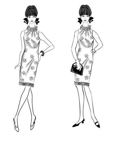 Mulher elegante. Moda estilo de menina vestida de 1960: festa de vestido retrô. vetor