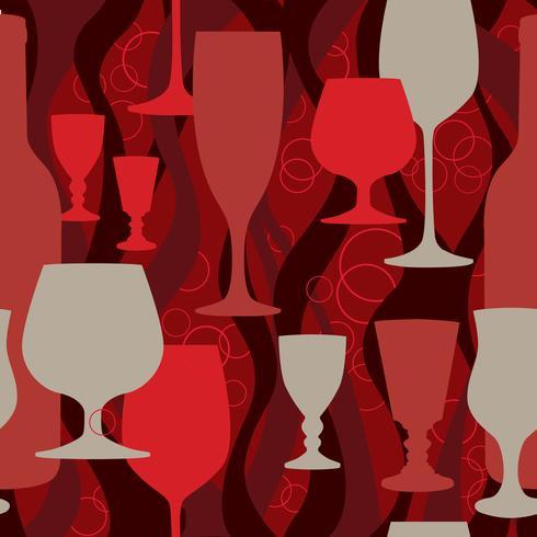 Padrão sem emenda de copo de vinho. Fundo de coquetel. Decoração de bar vetor
