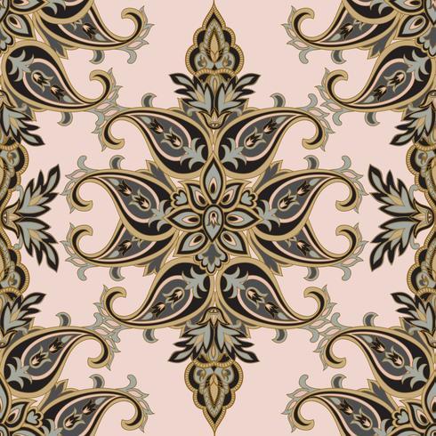 O flourish floral do teste padrão telhou a origem étnica oriental. Ornamento árabe com fantásticas flores e folhas. Motivos do País das Maravilhas das pinturas de antigos padrões de tecido indiano. vetor
