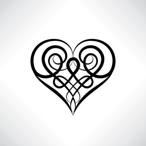 Símbolo de coração. Sinal de amor. Salvar amuleto de data. Antigo estilo celta vetor