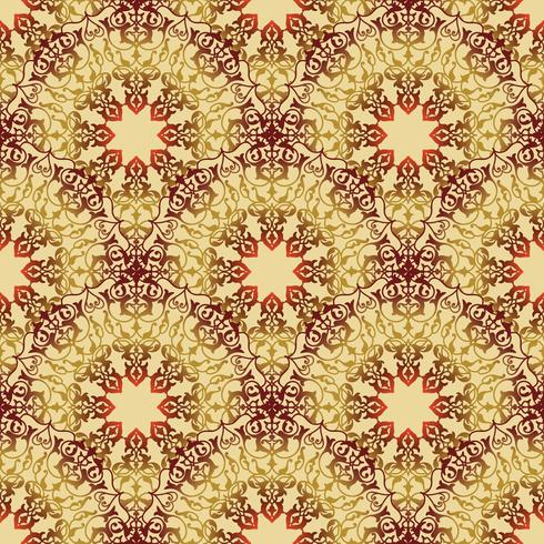 Ornamento de linha redemoinho floral árabe. Padrão sem emenda de flor Oriental vetor