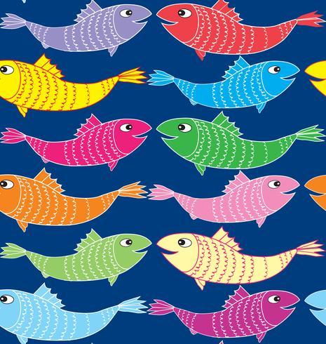 Padrão sem emenda de peixe. Fundo marinho subaquático vetor