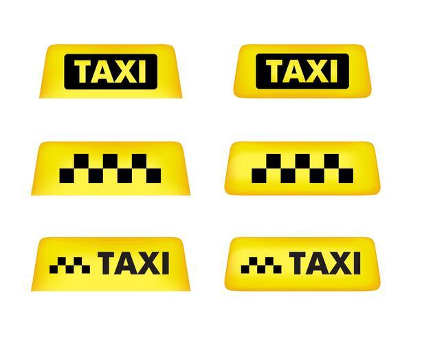 Sinal de telhado de carro de táxi. Conjunto de ícones. Vetor