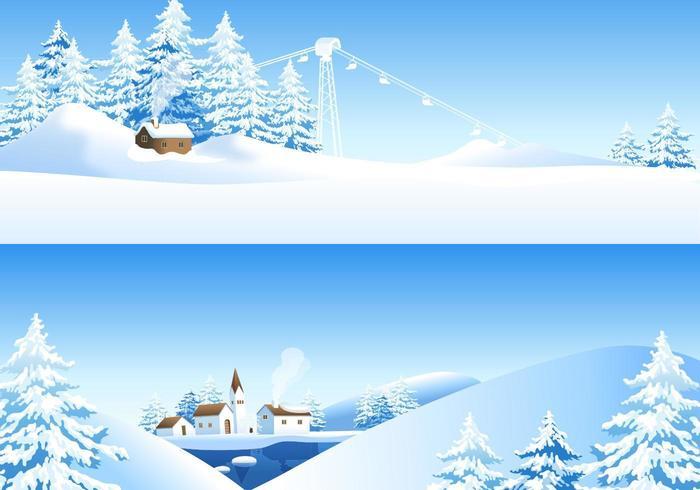 Pacote de papel de parede vectorial de paisagem de inverno vetor