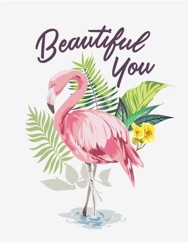 slogan com flamingo no fundo da floresta exótica vetor