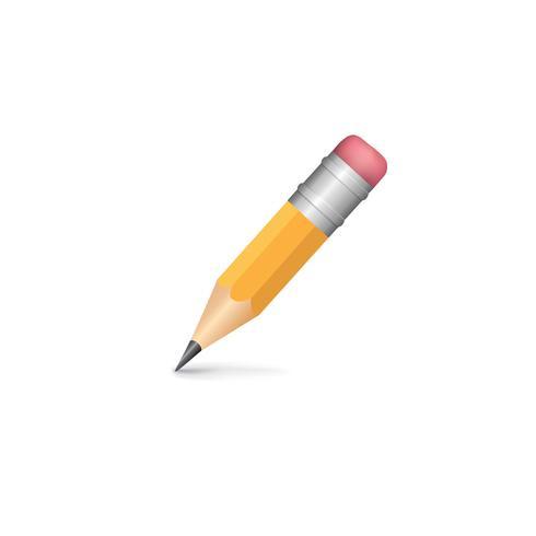 Lápis isolado com sombra no fundo branco vetor