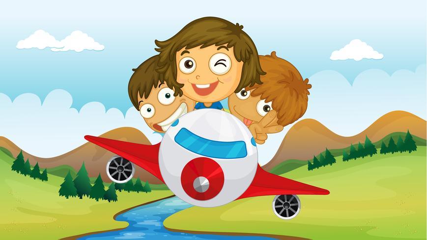 Crianças andando em um avião vetor