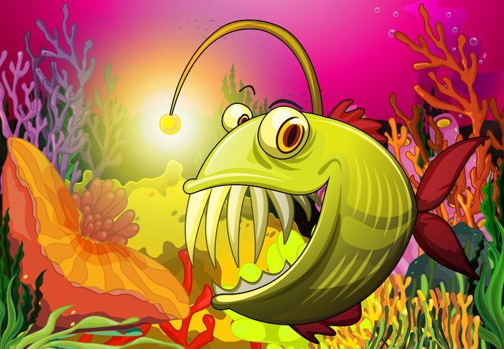 Um peixe grande sob o mar vetor