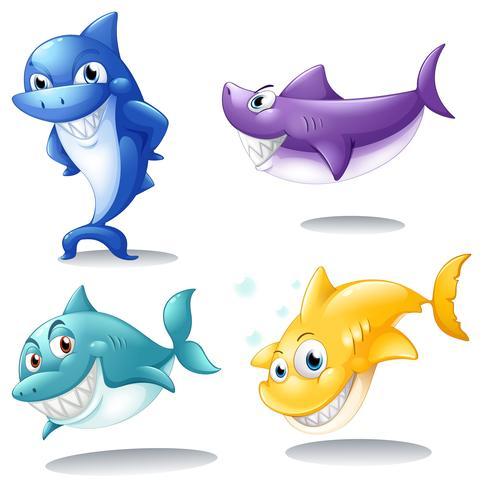 Um grupo de tubarões vetor