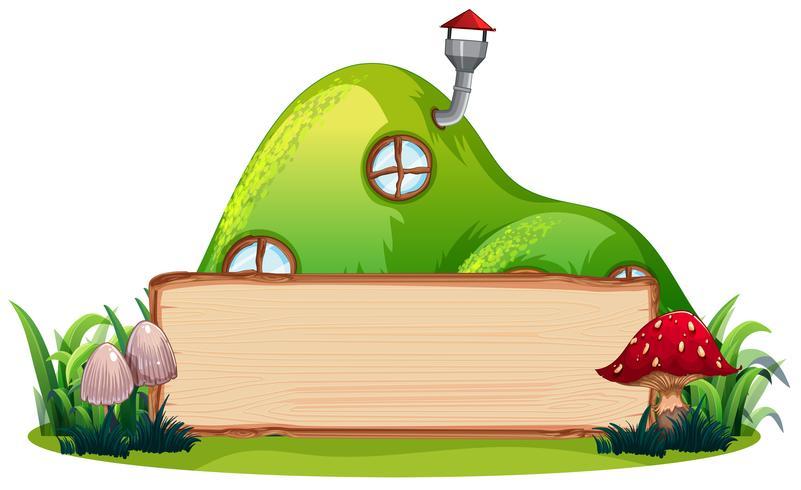 Casa mágica e banner de madeira vetor