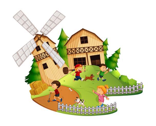 Muitas crianças brincando na fazenda vetor