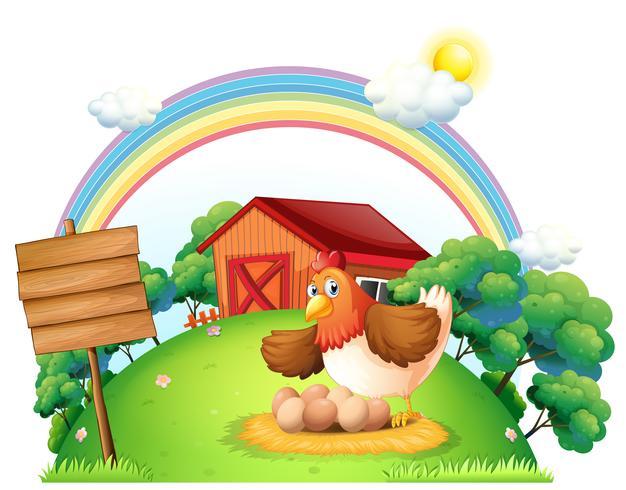 Uma galinha e seus ovos perto da placa de madeira vazia vetor
