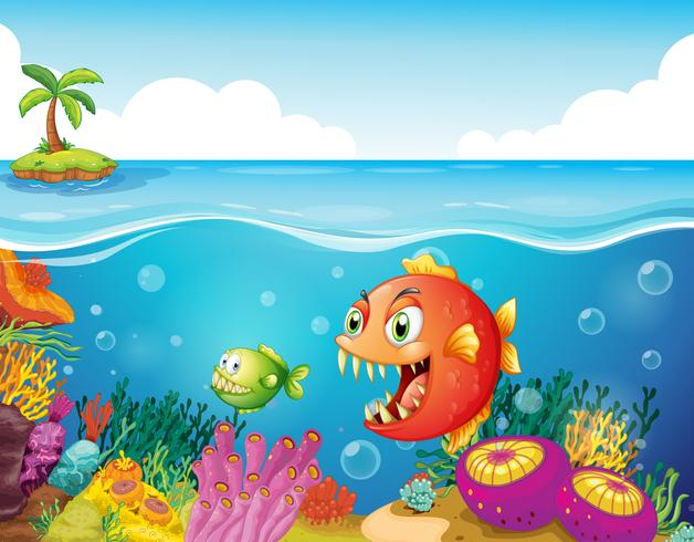Um mar com recifes de corais coloridos e peixes vetor