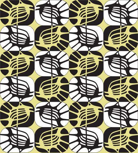 Resumo ornamental sem costura contorno padrão no estilo da década de 1960. vetor