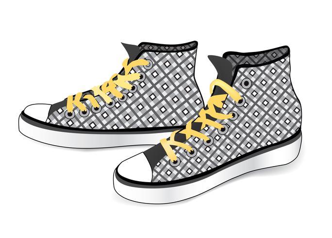 Sapatilhas isoladas. Sapatos de desporto de moda em tecido estampado vetor