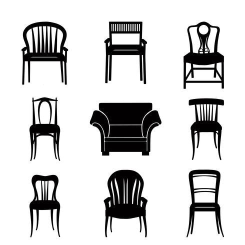 Poltrona, conjunto de cadeira. Silhueta retrô. Sinal de móveis vetor