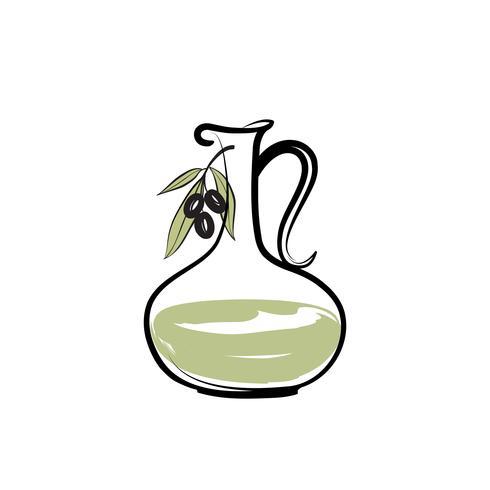 Sinal de garrafa de azeite. Ramo de azeitonas. Fundo de comida de fazenda natureza vetor