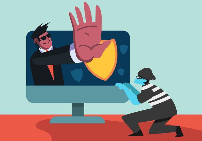 Segurança cibernética e computador vetor