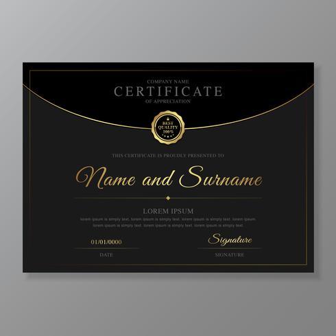 Certificado e diploma de apreciação de luxo e design moderno modelo vector illustration