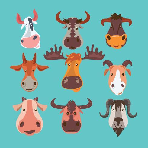 Conjunto de animais selvagens e rebanhos com chifres vetor