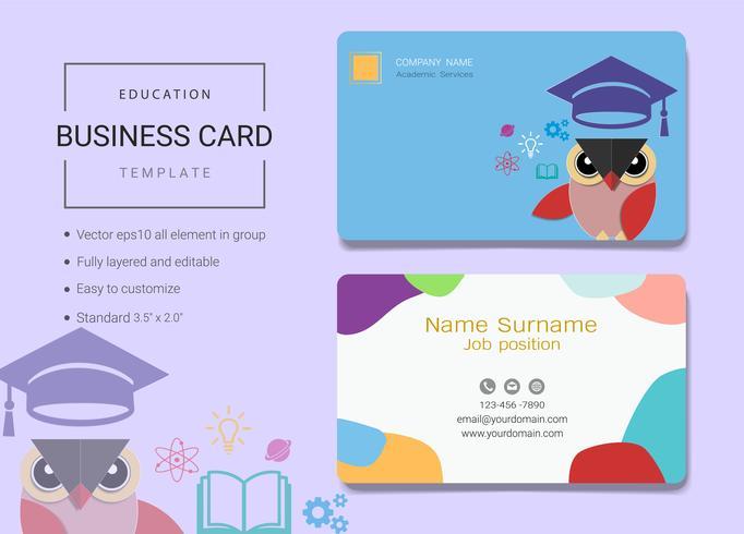 Modelo de cartão de nome de negócio de educação. vetor