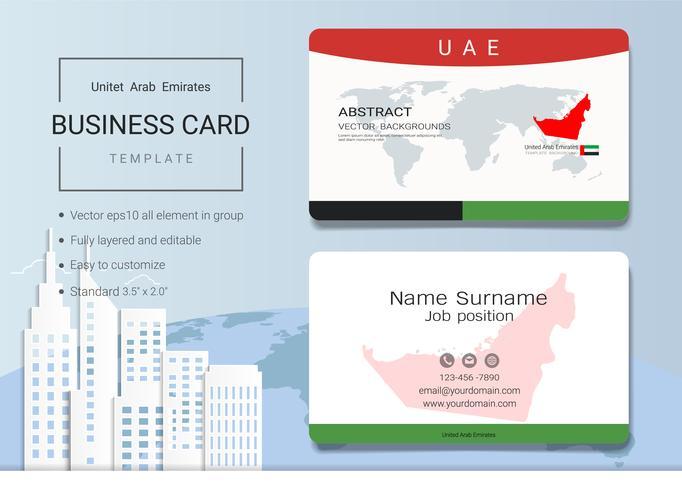 Modelo de design de cartão de nome comercial abstrato dos Emirados Árabes Unidos. vetor