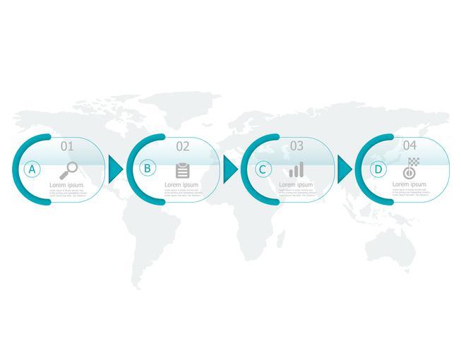 linha do tempo horizontal infográficos 4 passos vetor