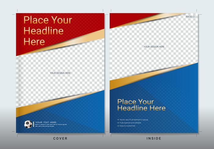 Modelo de design de livro de capa com espaço para evento esportivo. vetor