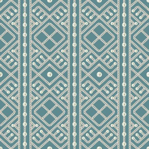 Teste padrão sem emenda do ornamento geométrico e das pérolas da corrente de prata no fundo azul. Ilustração vetorial vetor