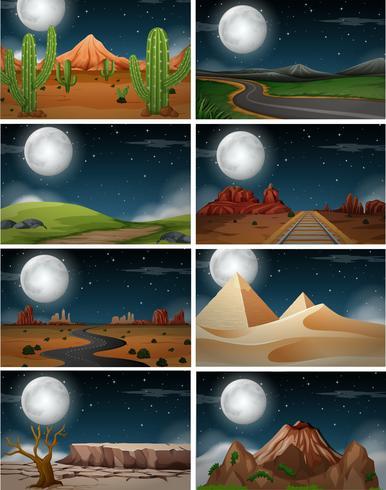 Conjunto de natureza paisagem à noite vetor