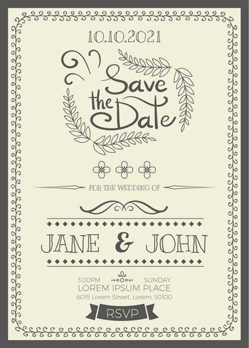 Convite de casamento do vintage vetor